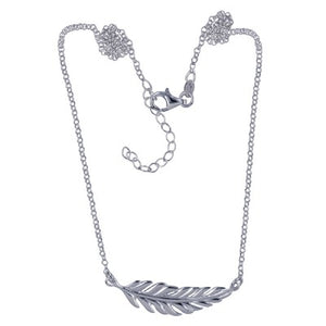 Sterling Silver Leaf Necklace - Sheer Envy