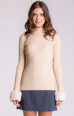 Zoe Knit Top with Fluffy Cuffs