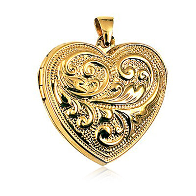 Heart Shaped Engraved Scroll Locket 9ct gold