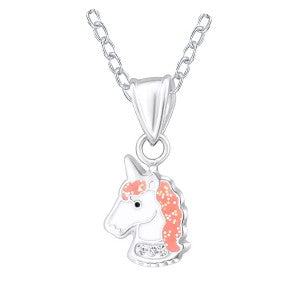 Enamel Sterling Silver Unicorn Necklace and Earring Set