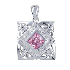 15mm Cubic Zirconia Pendant- Pink or Blue