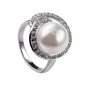 Sterling Silver Pearl Ring with Cubic Zirconia - Sheer Envy