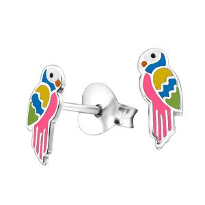 Sterling Silver Enamel Parrot - Sheer Envy
