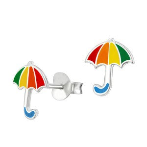 Enamel Sterling Silver Umbrella Studs