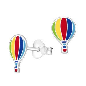 Enamel Sterling Silver Hot Air Balloon Studs