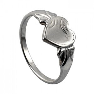 Heart Signet Ring Silver