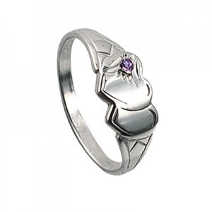 Girls Double Heart Signet Ring with Cubic Zirconia - Sheer Envy