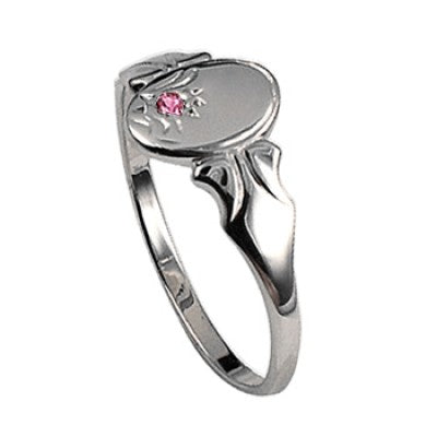 Oval Pink Cz Signet Ring Sterling Silver - Sheer Envy