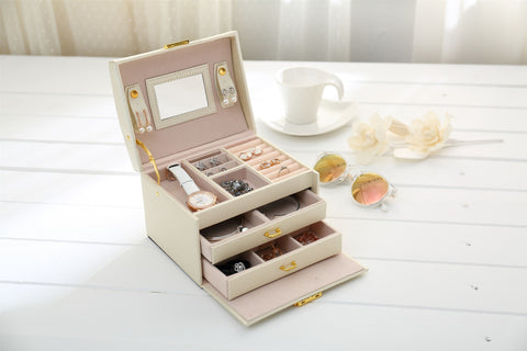 Jewellery Storage Box Girls Rings Necklaces Display Organiser Storage Case
