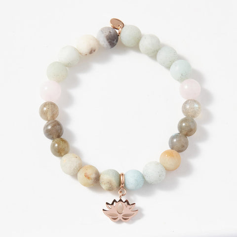 Amazonite, Labradorite and Rose Quartz Bracelet