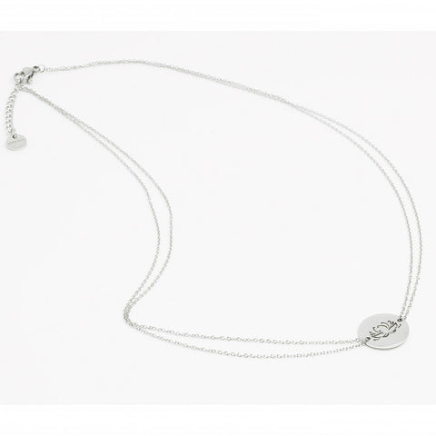 Silver Lotus Diamond Cut Chain Necklace