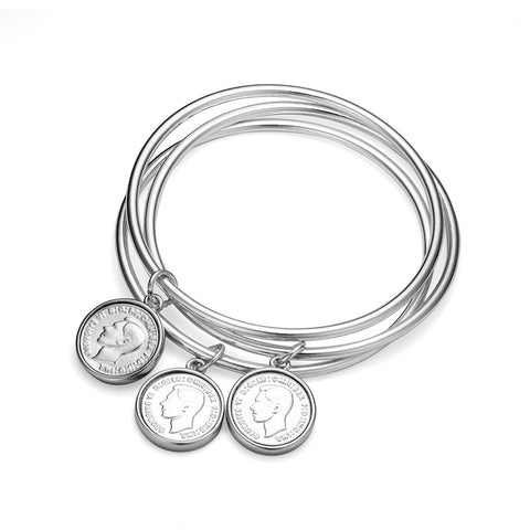 Set of 3 Thin Allure Bangles with Coin