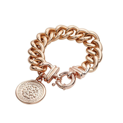 Allure Chunky Curb Bracelet  with Coin