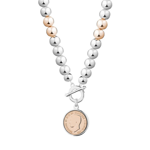 Allure Silver and Gold Tone Coin Ball Necklace