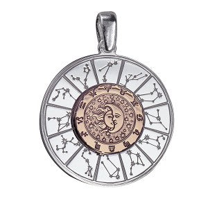 Astrology Pendant Sterling Silver ith Pink Hard Gold Plate - Sheer Envy