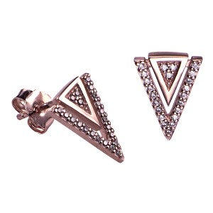 Pink Hard Gold Plated Sterling Silver Triangle Earrings - Sheer Envy