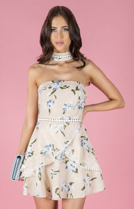 Strapless Floral Choker Dress