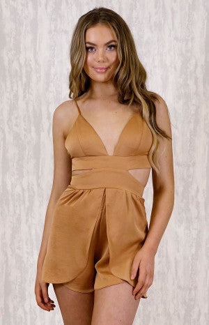 Plunge Neck Playsuit with Waist Cutout