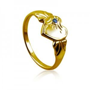 Girls Single Heart Signet Ring 9ct Yellow Gold - Sheer Envy