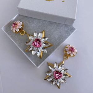 Rose Swarovski heart starburst clip on earrings