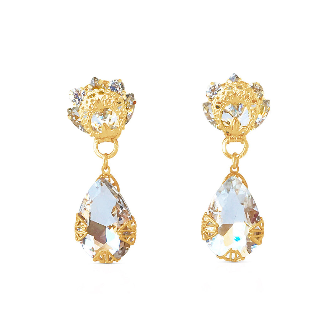 Classic Clear Baroque Drop Earrings