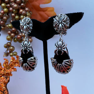 Arachne Filigree Drop Earrings Onyx