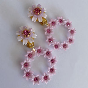 Vintage Swarovski crystal lightweight Mini-hoops in Rose