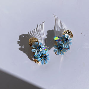 Azul Amor blossom climbers light sapphire crystals and gold filigree