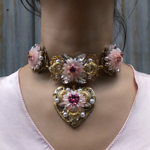 Swarovski Rose Crystal chrysanthemum and heart choker and earring Set