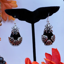 Arachne Filigree Drop Earrings Silver and onyx with hooks