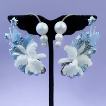 Botanical baby blue orchid ear cuff