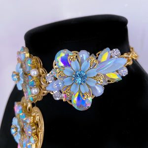 Azul Amor Crystal AB and gold filigree Choker and Earring Set