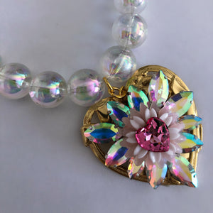Chrysanthemum Heart oversized bubble necklace