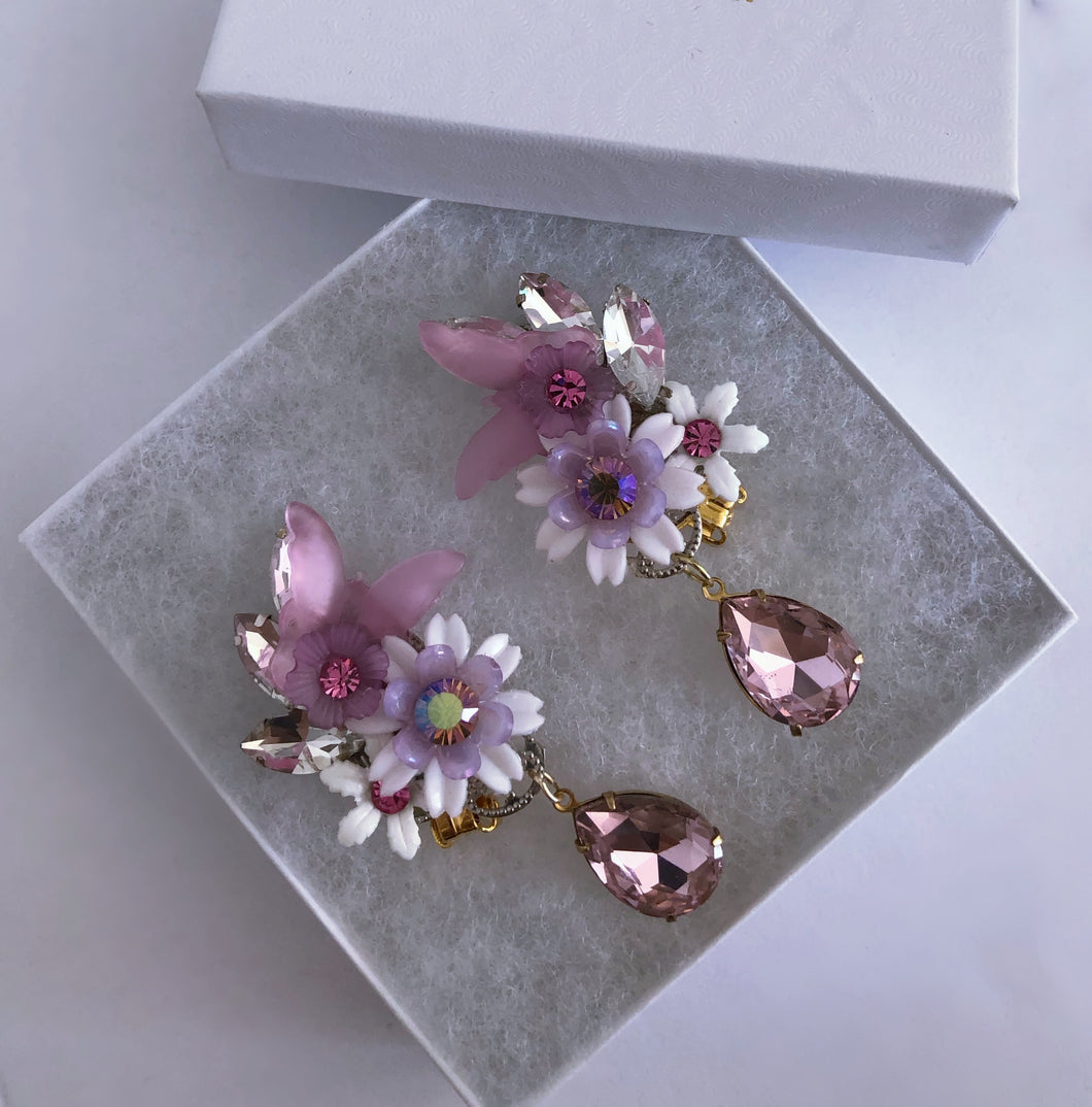 Secret Garden lavender Climber Clip on Earrings