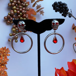 Ruby Eyed Calavera Hoop Earrings