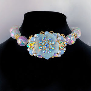 Azul Oceana statement blossom necklace Sapphire ab crystals filigree