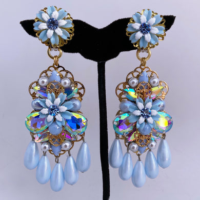 Azul Amor stacked chandelier earrings vintage milk glass stones