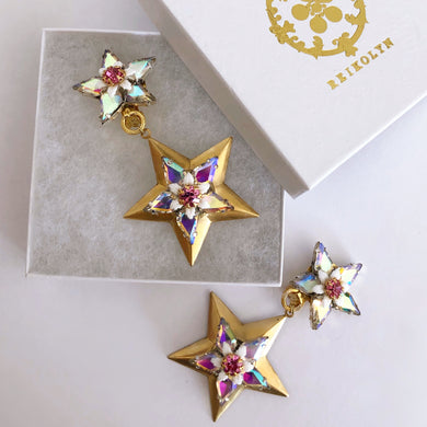 Twin star brass and AB crystal clip on earrings