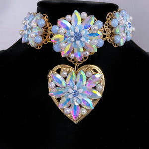Azul Amor Pearl ice queen Choker and Earrings set