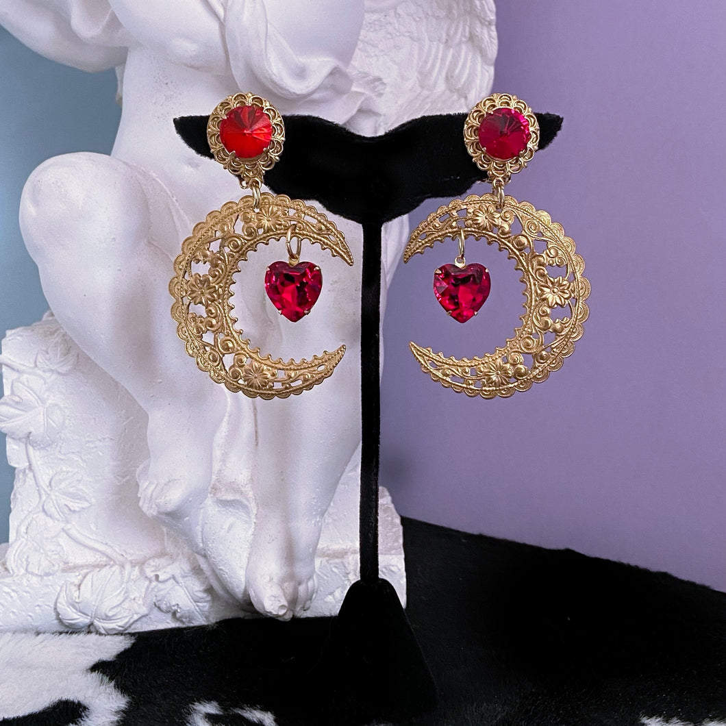 Lovers Moon Crystal Heart Earrings