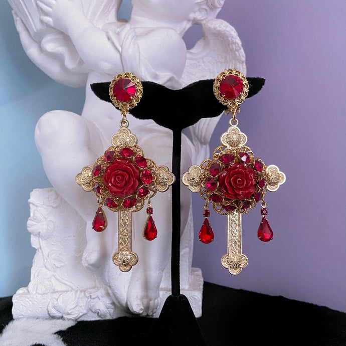 Oh My Gaudy Cross Earrings with Ruby Crystal
