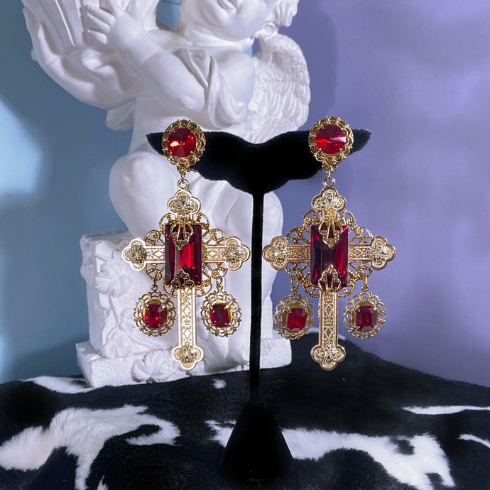 Rosalind Cross Earrings Vintage Czech Glass and Swarovski Crystal Accents