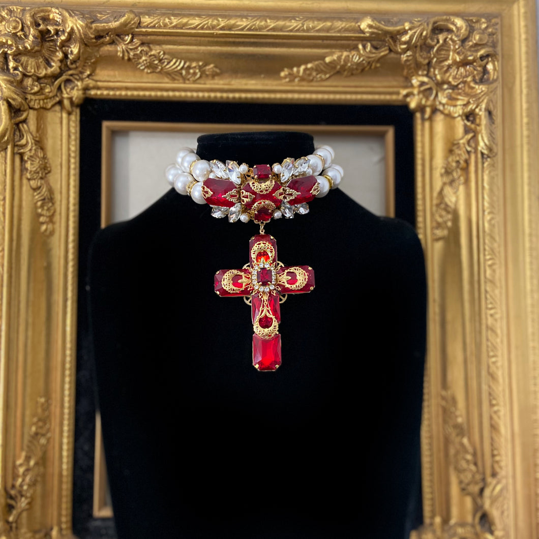 Aolani double glass pearl choker with crystal cross