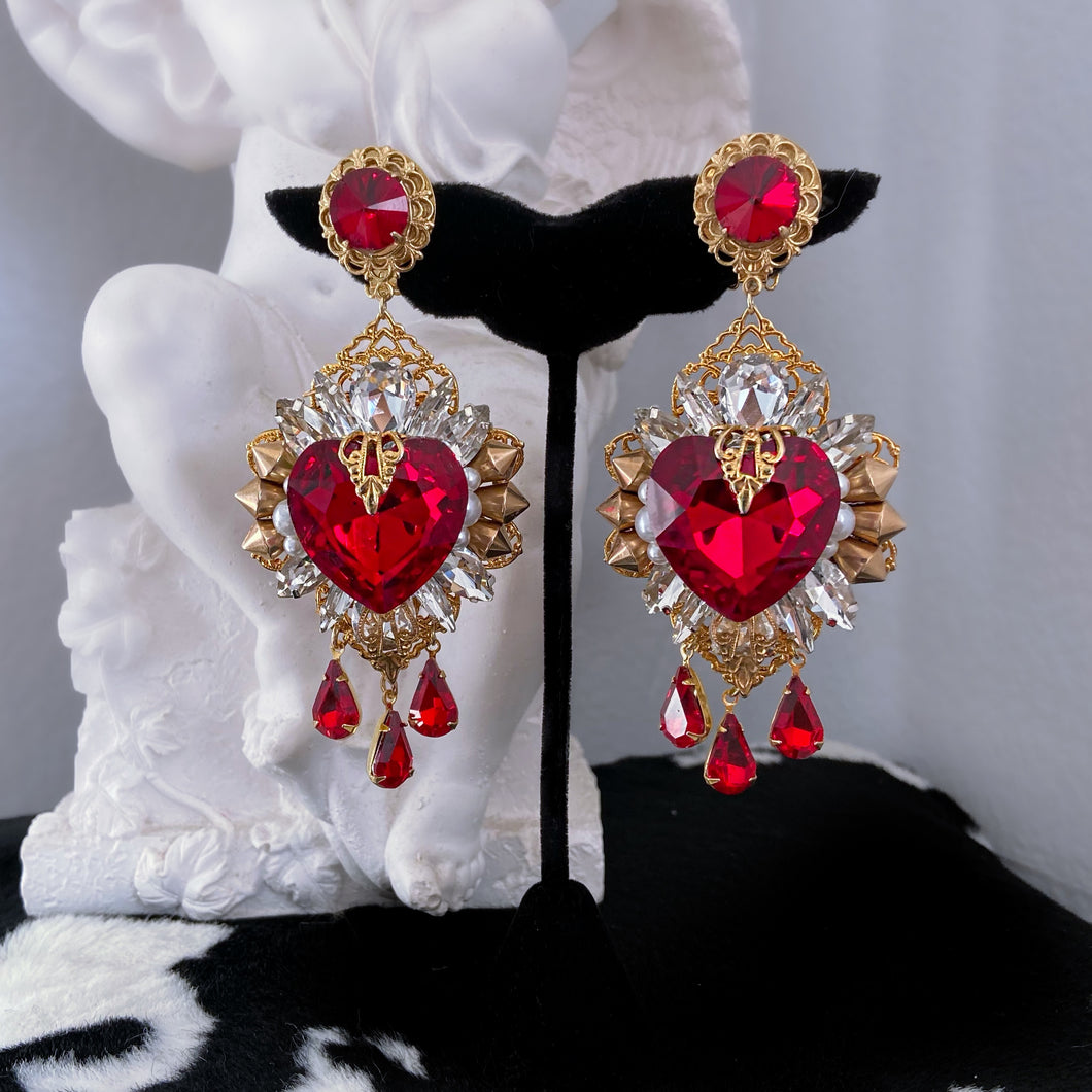 Ophelia bleeding heart chandelier earrings