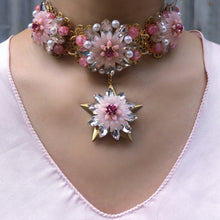 Starburst Chrysanthemum Choker and Hoop Earring Set