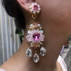 Chrysanthemum Heart Chandelier Earrings