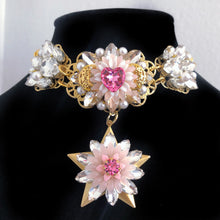 Crystal Rose Swarovski Heart Chrysanthemum Star Choker and Statement Earrings Set
