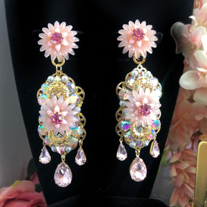 Double Chrysanthemum Chandelier clip on earrings