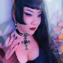 Nocturna Violet and Velvet Choker with large cross
