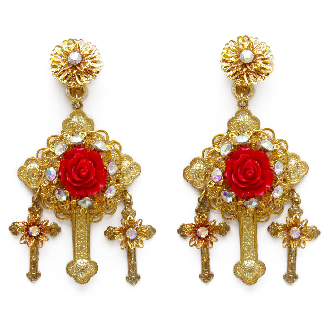 Baroque Red Rose Cross Earrings